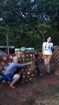 Beautiful women rocking it out! Building with eco bricks in Brazil.